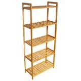 wolketon Étagère de rangement en bambou à 5 niveaux pour salle de bain cuisine couloir sauna