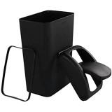 Ucake10 l Corbeille Poubelleà Papier en Plastique Couvercle Basculant  Noir  1 Paquet