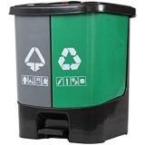 LXTIN Poubelles de Recyclage extérieures Poubelles extérieures 50L Grand Double Baril en Plastique Recycler la Poubelle de Recyclage de la pédale avec Couvercle