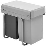 Wesco 12871- Nouveau Double-Boy - Poubelles encastrables 2 x 15 litres Gris / Anthracite 39 x 25 x 45 cm