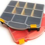Kerafactum Boîte de rangement à vis pour système de rangement   Boîte de rangement pour petites pièces avec couvercle et compartiments   Boîte de rangement vide pour vis petite   Organiseur 2 couleurs