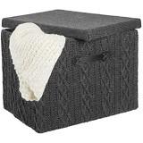 mDesign bac de rangement avec couvercle et poignée – panier de rangement de taille moyenne en polyester à l\'aspect tricoté – boite de rangement tissu stable pour salle de bain ou chambre – gris