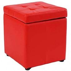 WQF Cube Faux Cuir Ottoman de Rangement Tabouret Banc siège Coffre à Jouets avec charnière boîte organisatrice supérieure pour la Maison et Le Bureau-Rouge 40x40x40cm (16x16x16)
