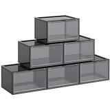 SONGMICS Boîtes à Chaussures Lot de 6 Coffre de Rangement empilable avec Porte en Plastique Pointure Jusqu'à 46 36 x 28 x 22 cm Gris LSP031B06