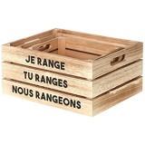 THE HOME DECO FACTORY HD4682 Cagette de Rangement-3 pcs Bois Beige-Noir 32 x 25 x 15 cm