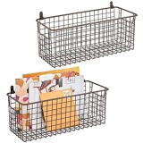 mDesign Set of 2 Hanging Storage Baskets – Medium Size Wall-Mounted Metal Wire Basket – Multi-Purpose Organiser Tray for Household Items – Bronze