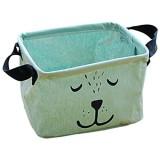 Monbedos Boîte de rangement pliable en coton et lin pour tiroir en tissu rangement de bébé rangement de jouets vêtements - Vert - Taille : 20 x 16 x 16 cm