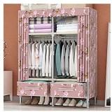 Garde-robe Armoire Simple Tissu Armoire Double Accueil Chambre avec tiroir Rangement Rangement Tissu penderie Grand Placard FANJIANI (Color : 1m Size : D)