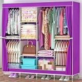Penderies repliables Portable Chambre Meubles Vêtements Closet non-tissé Armoire pliante Tissu Armoire de stockage combinaison Armoire (Couleur : Violet)