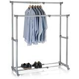 IDIMEX Portant à vêtements CASA en métal chromé et Gris penderie Double sur roulettes vestiaire Mobile avec 2 Barres Hauteur et Longueur réglables