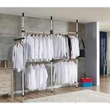 Portant Penderie à vêtements Porte-Manteaux télescopique Système de tringles à vêtements télescopique Portant Penderie à Vêtements Télescopique 160-320cm