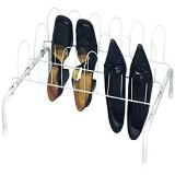 MSV 221 Rangement Chaussures à Poser pour 9 Paires Métal Peint Blanc 55 x 5 x 40 cm