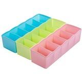 Fablcrew Lot de 3 boîtes de rangement en plastique pour tiroir rangement de bureau sous-vêtements cosmétique organiseur dressing