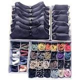 Huaute Lot de 4 organiseurs de tiroirs pliables et boîte de rangement pliable pour soutien-gorge sous-vêtements chaussettes cravates foulards et autres accessoires Gris