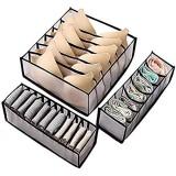 TOKINCEN Lot de 3 Organisateur de Tiroir pour Sous-vètements Boîte de Rangement Lavable Pliable Closet Organiseurs pour Soutien-Gorges Chaussettes Foulard Séparateurs de Tiroir (Noir)