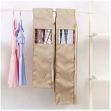 Housses Vêtement Sacs De Vêtement Sacs Suspendus Pour Rangements De Rangement Avec Fenêtre Transparente Agrandie Grands Sacs De Vêtement Pour Manteaux Vestes Costumes (Size:24×58×88cm Color:Beige)