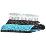 Basics Lot de 50 cintres en plastique ultra robustes antidérapants avec caoutchouc et barre horizontale Bleu