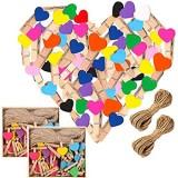 Clips Photo en Bois BESTZY 100 Pieces Mini Pinces à Linge Photo Craft DIY pour Noël Anniversaire Fête