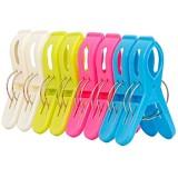 IPOW 8 Pcs Grosses Pinces à Transat Pince à Serviette de Plage Grande Pince à Linge Multicolore en Plastique pour Serviette de Toilettes Couettes Draps de Bain Couverture Vêtements